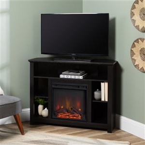 Walker Edison Country Fireplace TV Stand - 44-in x 30-in - Black