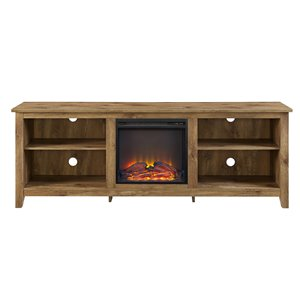 Walker Edison Farmhouse Fireplace TV Stand - 70-in x 24-in - Barnwood