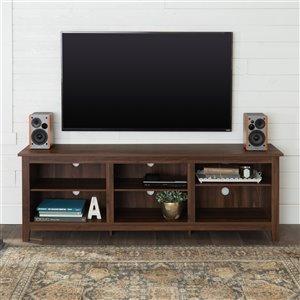 Walker Edison Modern TV Cabinet - 70-in x 24-in - Dark Walnut