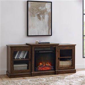 Walker Edison Mid-Century Fireplace TV Stand - 60-in x 26.25-in - Dark Walnut