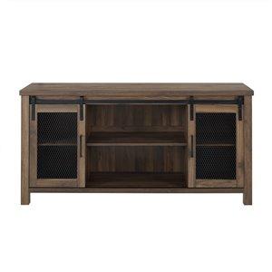 Walker Edison Industrial TV Cabinet - 58-in x 28-in - Dark Walnut