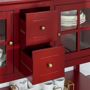 Walker Edison Console Table and TV Cabinet - 52-in x 16-in x 35-in - Antique Red