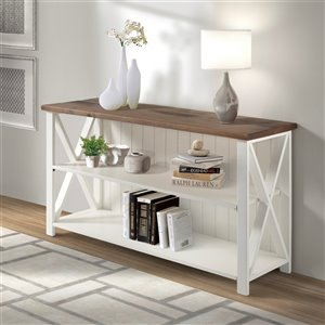Walker Edison Farmhouse TV Cabinet - 52-in x 30-in - White/Reclaimed Barnwood