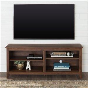 Walker Edison Casual TV Cabinet - 58-in x 24-in - Dark Walnut