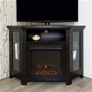 Walker Edison Casual Fireplace TV Stand - 48-in x 32-in - Black