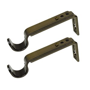 Versailles Home Fashions Single Wall Brackets - 16/19mm Rod - Antique Brass - 2-pack