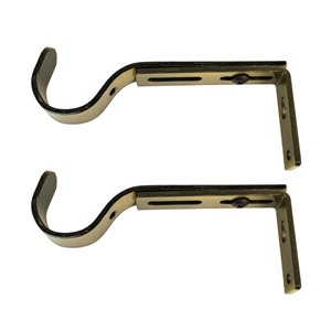 Versailles Home Fashions Single Wall Brackets - 22/25/28mm Rod - Antique Brass - 2-pack