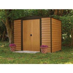 Woodridge 8x6 ft Steel Storage Shed Coffee/Wdgrn