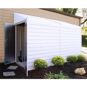 Yardsaver 4x10 ft Steel Storage Shed Pent Eggshell