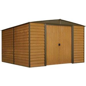 Woodridge 10x12 ft Steel Storage Shed Coffee/Wdgrn