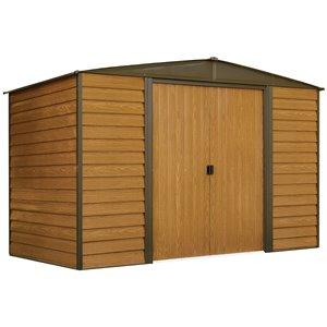 Woodridge 10x6 ft Steel Storage Shed Coffee/Wdgrn