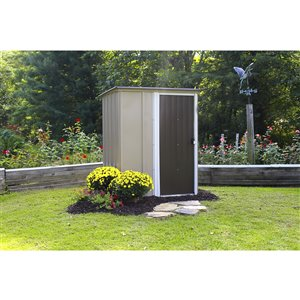 Brentwood 5 x 4 ft Steel Storage Shed Coffee/Taupe
