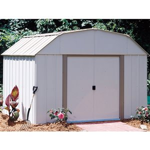 Lexington 10 x 8 ft Steel Shed Barn Taupe/Eggshell