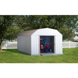 Lexington 10x14 ft Steel Shed Barn Taupe/Eggshell