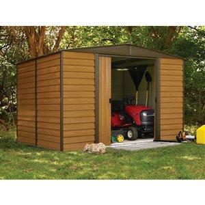 Woodridge 10x8ft Steel Storage Shed Coffee/Wdgrn