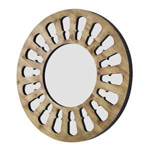 32-in Rustic Round Wood Wall Mirror in Natural Wash