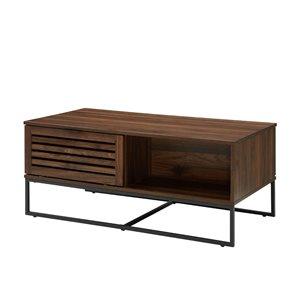 Walker Edison Modern Slat Door Coffee Table - 42-in - Dark Walnut