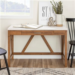 46-in Rustic Modern Farmhouse Computer Desk with Drawer-Walnut Base/White Top