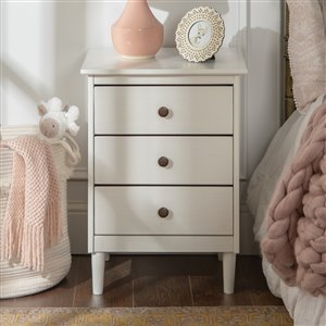 Modern 3 Drawer Nightstand - White