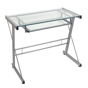 Home Office Glass Metal Computer Desk - Silver