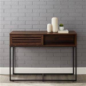 42-in Modern Slat Door Entry Table - Dark Walnut