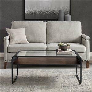 Walker Edison Reversible Shelf Metal Coffee Table - 42-in - Grey Wash/Dark Walnut
