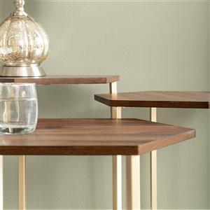 Walker Edison Modern Wood Nesting Table Set - 3 Pieces - Dark Walnut/ Gold