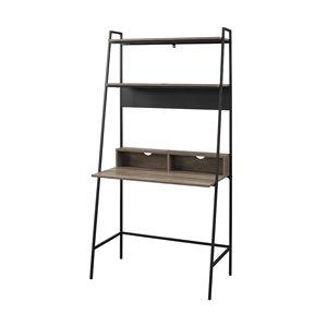 36-in Modern Wood Ladder Computer Desk - Grey Wash