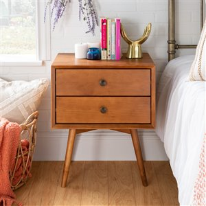 Mid-Century 2 Drawer Solid Wood Nightstand - Caramel
