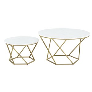 Walker Edison Modern Nesting Coffee Table Set - White Marble/Gold