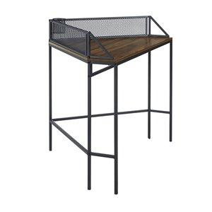 42-in Industrial Corner Desk - Dark Walnut