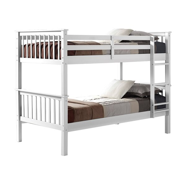 Solid Wood Twin Over Twin Mission Design Bunk Bed White Lowe S Canada