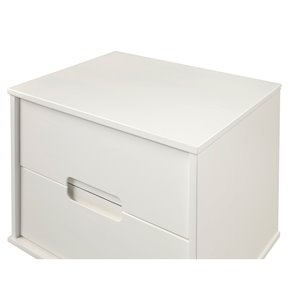 2-Drawer Groove Handle Wood Nightstand - White