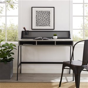 42-in Mesh Back Writing Desk - Slate Grey