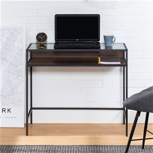 35-in Urban Industrial Metal and Wood Desk with Glass and a Shelf - Dark Walnut