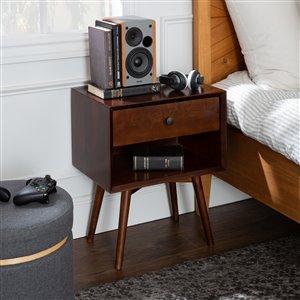 Mid-Century 1 Drawer Solid Wood Nightstand - Walnut