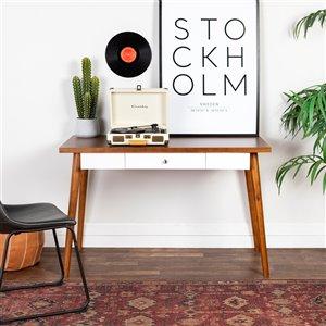 48-in Mid Century Modern Wood Computer Desk - Acorn/White