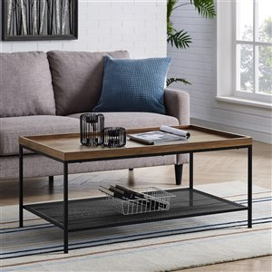 Walker Edison Industrial Coffee Table - Dark Walnut
