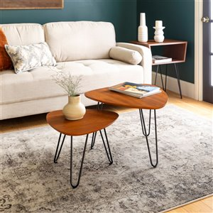 Walker Edison Hairpin Leg Wood Nesting Coffee Table Set - Walnut