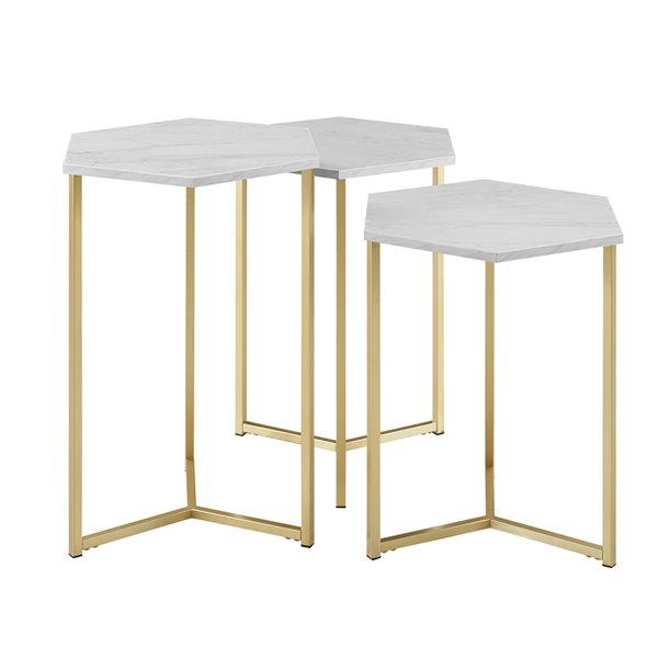 Walker Edison Modern Wood Nesting Table Set 3 Pieces Faux White Marble Gold Lowe S Canada