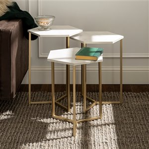 Walker Edison Modern Wood Nesting Table Set - 3 Pieces - Faux White Marble/ Gold
