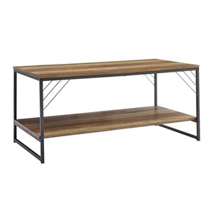Walker Edison Industrial Metal Accent Coffee Table - 40-in- Reclaimed Barnwood