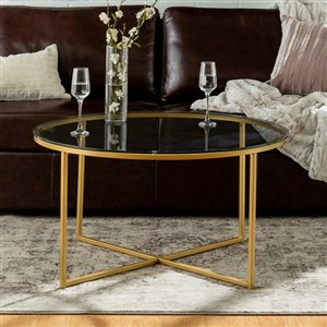 Walker Edison Coffee Table with X-Base - 36-in - Glass/Gold