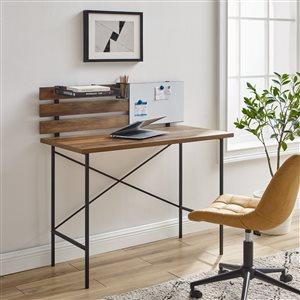 42-in Modern Slat Back Adjustable Storage Writing Desk - Reclaimed Barnwood