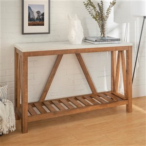 52-in A-Frame Rustic Entry Console Table - Marble/Walnut