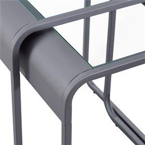 Walker Edison Metal Nesting Tables - Glass / Gunmetal