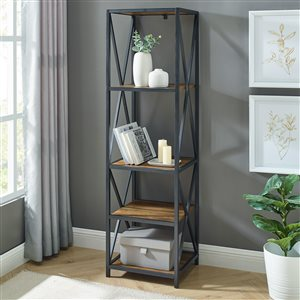 Metal X Tower with Wood Shelves -Rustic Oak