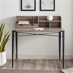 42-in Industrial Secretary Desk with Hutch - Grey Wash