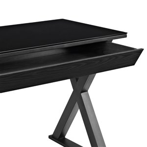 Home Office 48-in Glass Metal Computer Desk - Black