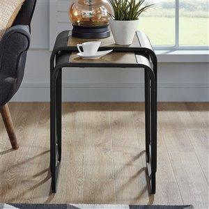 Walker Edison Metal Nesting Tables - Rustic Oak / Black